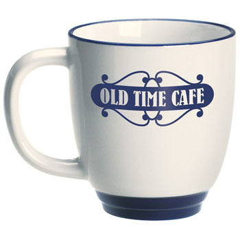 CFBA02 - Almond Ceramic Bistro Mug with Blue Foot / Rim