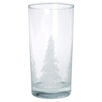 IDS51 - Heavy Bottom Glass Tumbler Stock Iced Tree Design