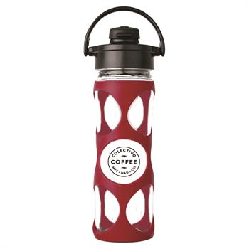 LF240008C4 - Glass Water Bottle 16 oz. Cardinal