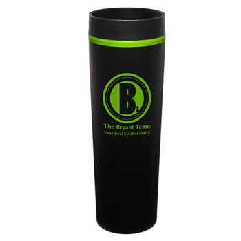 MONT04 - Black Monterey Tumbler with Green Trim/Liner