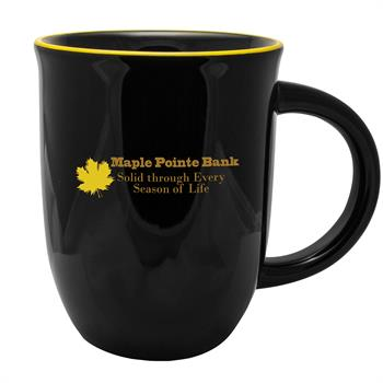 SKM13 - Salem Kettle Mug 14 oz. Black Exterior/Yellow Rim