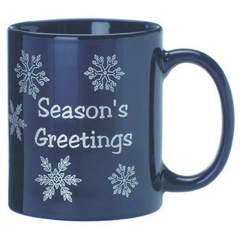 SN4912 - Blue Ceramic Mug Stock Snow Flake Design
