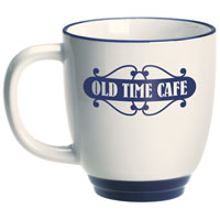 Almond Ceramic Bistro Mug with Blue Foot / Rim