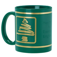 Green Ceramic Mug Stock Christmas Tree Design