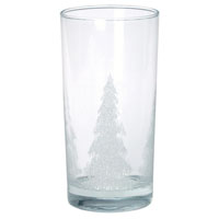 Heavy Bottom Glass Tumbler Stock Iced Tree Design