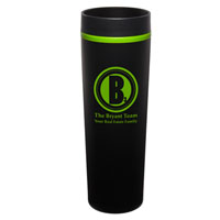 MONT04-Black Monterey Tumbler with Green Trim/Liner