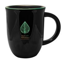 SKM04-Salem Kettle Mug 14 oz. Black Exterior/Green Rim